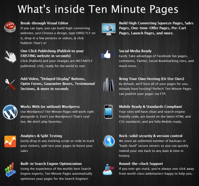 What does 10 Minute Pages offer?